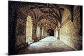 Gangen in het Jerónimos-klooster Aluminium 90x60 cm - Foto print op Aluminium (metaal wanddecoratie)