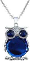 Fako Bijoux® - Ketting - Uil - Spiegel - Blauw