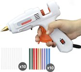 Professioneel Hobby Lijmpistool & 20 Lijmsticks – 10 Transparante Lijmsticks & 10 Kleurensticks – 7mm – Hoge & Lage Temperatuur - Wit