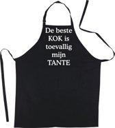 Mijncadeautje Schort De beste kok is toevallig mijn TANTE - Mooie - grappige - leuke Keukenschort - Zwart