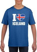 Blauw I love Ijsland supporter shirt kinderen - Ijslands shirt jongens en meisjes M (134-140)
