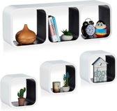 relaxdays wandbox kubus - set van 4 stuks - wandboard - MDF - modern design - wandplank wit-zwart