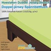 Homéé - Hoeslaken Double dik jersey stretch 210g. p/m2 100% katoen - Lemon groen - 90/100x200 +30cm