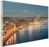 Strand van Barcelona Hout 80x60 cm - Foto print op Hout (Wanddecoratie)