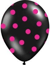 Ballonnen Zwart dots fuchsia 50 stuks