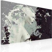 Schilderij - Vrouw abstract , zwart wit