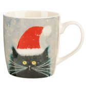Kerstbeker zwarte kat met kerstmuts - Kim Haskins-