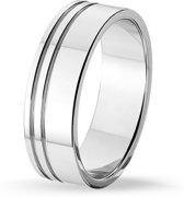 TRESOR Ring blinkend gepolijst met 2 blinkende groefjes - Gerhodineerd sterling zilver - 7mm breed
