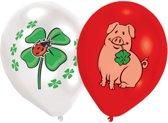 8 Latex Balloons Lucky Themes 4 Colour Print 25.4 cm/10