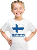 Finland kinder t-shirt met Finse vlag in hart wit jongens en meisjes S (122-128)