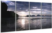 Glasschilderij Zee | Blauw, Wit, Grijs | 160x80cm 4Luik | Foto print op Glas |  F001082