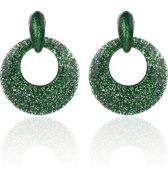 Oorbellen Met Glitters - Rond - Oorhangers 4x4 cm - Groen