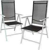 TecTake - 2x aluminium tuinstoel / tuin stoel zilver - zwart 401631
