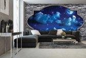 Fotobehang Vlies   Muur, Nacht   Blauw   368x254cm (bxh)