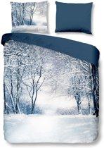 Good Morning Winter - Flanel - Dekbedovertrek - Tweepersoons - 200x200/220 cm + 2 kussenslopen 60x70 cm - Blauw