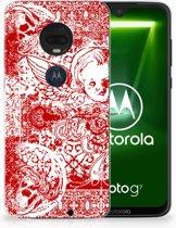 Motorola Moto G7 | G7 Plus TPU Hoesje Design Angel Skull Red