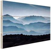 Silhouette van bergen Hout 30x20 cm - klein - Foto print op Hout (Wanddecoratie)