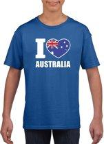 Blauw I love Australie supporter shirt kinderen - Australisch shirt jongens en meisjes M (134-140)