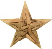 HSM Collection - Wanddecoratie kerstster - large - blank teak