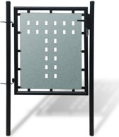 vidaXL Tuinpoort enkele deur zwart 100 x 150 cm
