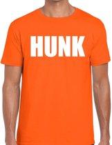 Hunk tekst t-shirt oranje heren S