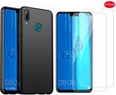 Huawei P Smart 2018 Hoesje Zwart TPU Siliconen Soft Case + 2X Tempered Glass Screenprotector