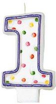 Amscan Verjaardagskaars 1 - Polka Dots 7,6 Cm Paars/wit