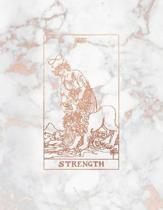Strength: Bullet Journal - 8.5 x 11 A4 Notebook - Marble and Rose Gold Design - Dot Grid Notebook