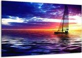 Canvas schilderij Boot | Paars, Geel, Wit | 120x70cm 1Luik