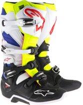 Alpinestars Crosslaarzen Tech 7 White/Fluor Yellow/Blue-39 (EU)