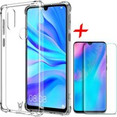 Huawei P30 Lite Hoesje + Screenprotector Case Friendly - Transparant Shockproof Case - iCall