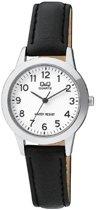 Mooi dames horloge- Zwarte leren band van het merk Q&Q Q947J304Y
