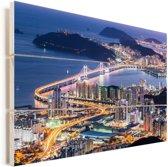 Skyline van Busan in Zuid-Korea in de avond Vurenhout met planken 30x20 cm - klein - Foto print op Hout (Wanddecoratie)