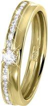 Lucardi - Geelgouden ring met zirkonia