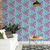 Fotobehang Modern Geometric Triangle Pattern Pink Blue   VEXXL - 312cm x 219cm   130gr/m2 Vlies