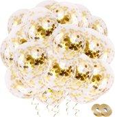 Fissaly® 30 Stuks Luxe Gouden Confetti Helium Ballonnen met Lint – Decoratie – Latex – Party