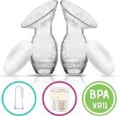Twee siliconen borstkolven met deksel| Borstkolf |Handkolf | Moedermelk kolf | Babymelk kolven |Kolfapparaat | Borstvoeding bewaren| Gratis verzending