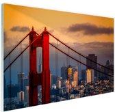 Zonsondergang San Fracisco Glas 120x80 cm - Foto print op Glas (Plexiglas wanddecoratie)