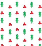 6 Holly String Decorations Christmas 2.1 m