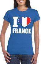 Blauw I love Frankrijk fan shirt dames L