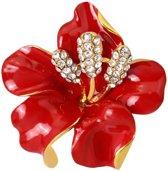 Fako Bijoux® - Broche - Orchidee - 47x50mm - Rood