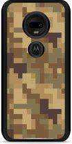 Moto G7 / G7 Plus Hardcase hoesje Pixel Camouflage Brown