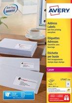 Huismerk Avery L7163-250 Laserprinter Etiket 99.1x38.1 Wit