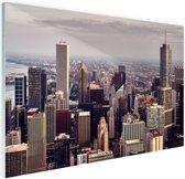 Stad Chicago Glas 180x120 cm - Foto print op Glas (Plexiglas wanddecoratie) XXL / Groot formaat!