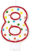 Amscan Verjaardagskaars 8 - Polka Dots 7,6 Cm Rood/wit
