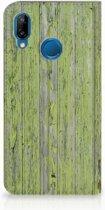 Huawei P20 Lite Standcase Hoesje Design Green Wood