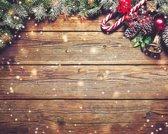Kerst Vinyl Placemat | Oud hout | 6 stuks (1 gratis)