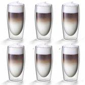 Dubbelwandige Caffe latte glazen 0,35L - Set van 6 - Flame