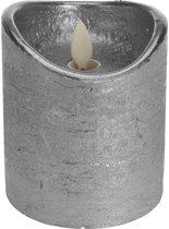 Zilveren led kaars flikkerende vlam 10 cm - LED stompkaarsen zilver