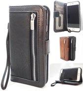 iPhone XR Zwarte Wallet / Book Case / Boekhoesje/ Telefoonhoesje / Hoesje met pasjesflip en rits voor kleingeld